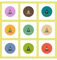 Flat icons halloween set of mountain and skull vector