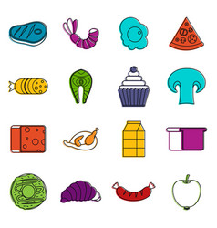 Food icons doodle set vector