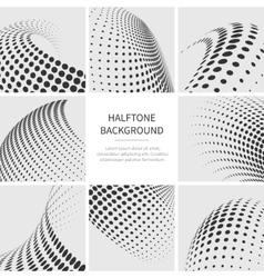 Halftone dots abstract shapes set vector