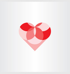 Heart geometric circles element design vector