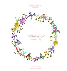 Invitation card with love mothers day watercolor vector
