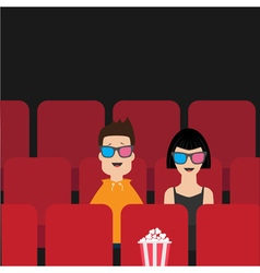 Love couple sitting in movie theater film show vector