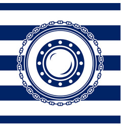 marine emblem with a porthole vector image