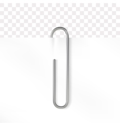 Realistic paper clip metallic fastener on vector