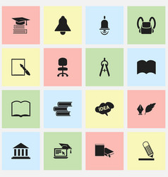 set of 16 editable school icons includes symbols vector image