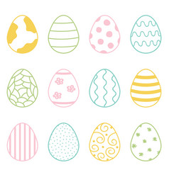 Set of cute colorful doodle easter eggs vector