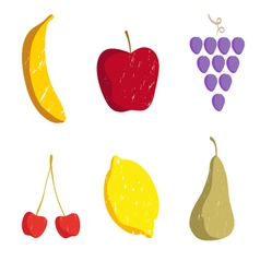 Set of fruits isolated on a white vector image vector image
