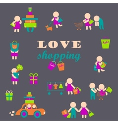 Set of shopping people icons vector