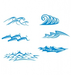 set of wave symbols vector image vector image