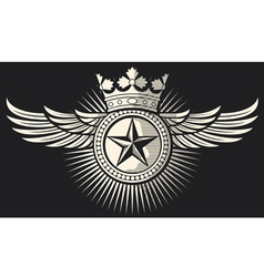 star with wings and crown tattoo vector image vector image