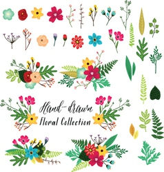 Vintage hand drawn floral vector image vector image