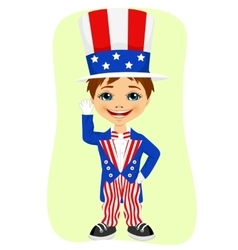 Young boy dressed up like uncle sam vector