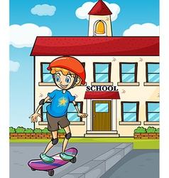 A boy skating vector image