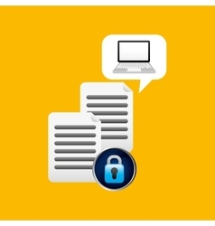 Laptop padlock file data secure vector