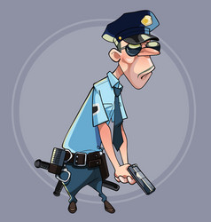 Cartoon serious man in police uniform vector