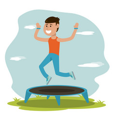 Physical education - boy jumping trampoline sport vector