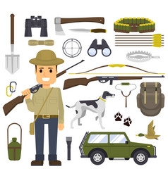 Hunting set of equipment hunter with a gun vector