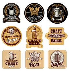 vintage beer bottle labels vector image