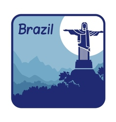 With christ the redeemer in brazil vector