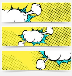 Pop-art comic book explosion card collection vector