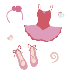 Ballerina fashion set vector