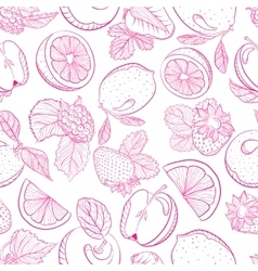 Seamless monochrome pattern fruit berry mix vector