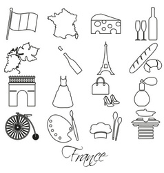 France country theme outline symbols and icons set vector
