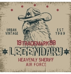 Vintage label with eagle-sheriff vector