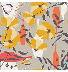 seamless pattern floral elements spring flowers vector image