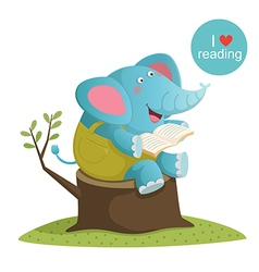 Cartoon elephant reading a book vector