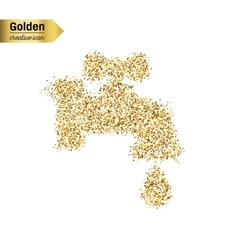 Gold glitter icon of faucet isolated on vector