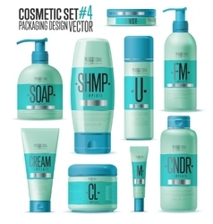 Cosmetic brand template realistic bottle set vector