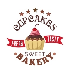 Cupcake shop round badge with chocolate muffin vector