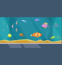 aquarium banner horizontal man cartoon style vector image vector image
