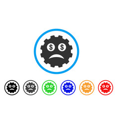 Bankrupt smiley gear icon vector