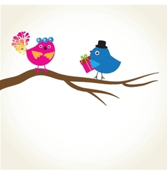 Birds couple in love vector image vector image