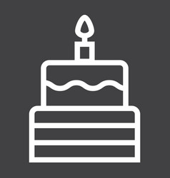 Birthday cake line icon sweet and holiday vector