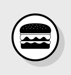 Burger simple sign flat black icon in vector