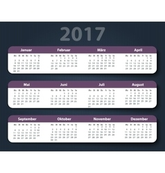 Calendar 2017 year German Week starting on Monday vector image vector image