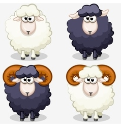 Cartoon black and white sheep vector