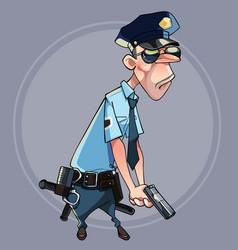cartoon serious man in police uniform vector image vector image