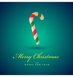 Christmas candy cane Merry Christmas card Blue vector image
