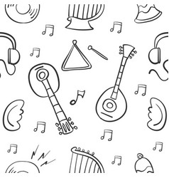Collection of music object doodle vector