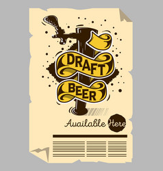 draft beer tap machine poster flyer vector image