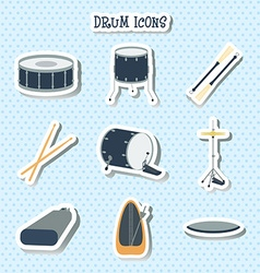Drum icons Stickers Flat design vector image