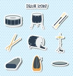 Drum icons stickers flat design vector