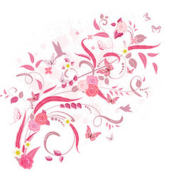 elegant floral ornament with roses and birds for vector image vector image