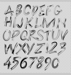 Handwritten brush font letters and numbers vector