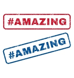 Hashtag amazing rubber stamps vector