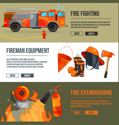 horizontal banners set of fireman tools pictures vector image